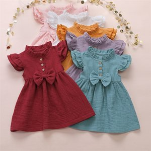 Fashion Baby Summer Dress Sweet Solid Color Cotton Lotus Leaf Sleeve Bow Princess Dress