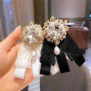 Retro College Style Pearl Bow Brooches Corsage Women Black Lace Sweet Brooch Pins Uniform Shirt Accessories Wedding Dress Shirt Brooch Pin