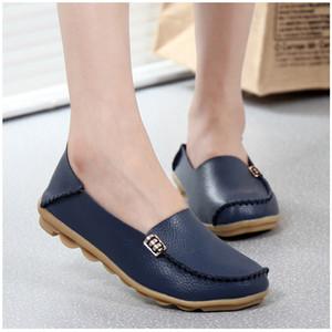 KUIDFAR 2018 Moda Gerçek Deri Kadınlar Flats Ayakkabı Kadın Casual Düz Kadınlar loafer'lar 16 renk Moccasin Kadın ayakkabı LY191129