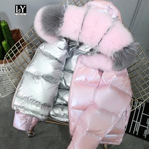 Abrigo de piel verdadera piel natural collar de invierno de la chaqueta de las mujeres del 90% pato blanco abajo por las dos caras Parkas impermeables con capucha