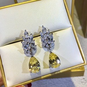 Famous jewelry Yellow Gem-stone diamond Earring fashion Citrine Water Drop CZ Stone Pierced Dangle earring charm Rhinestone Teardrop Earring