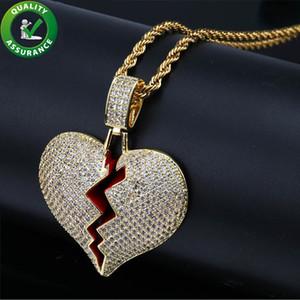 Glacé sur pendentif Designer Collier Hip Hop Bijoux Hommes Chaîne en or Pendentifs Solid Red Heart Break Or Argent Pandora Style Charms Amour cadeau