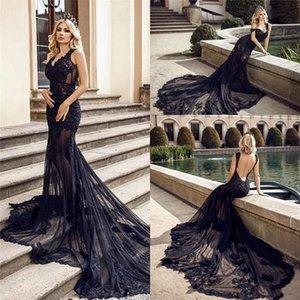 Charme dentelle noire sirène robes de soirée sexy See Through Tulle long Vintage robe de mariée en dentelle col en V ouvert Appliqués Retour Vestidos
