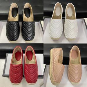 Luxe en cuir noir Plate-forme Espadrilles Chaussures Femme Double Matériel en cuir véritable Slip-on Espadrille Sandal souple Bas Chaussures Casual EU41