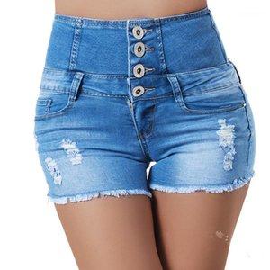 Püskül Mavi Bayan Jeans Skinny Günlük Ripped Streetwear ile Fermuar Yüksek Bel Yaz Kısa Jeans