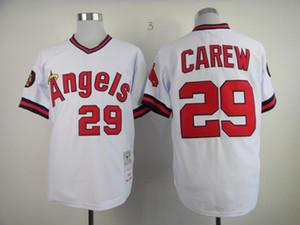 Al por mayor de los nuevos hombres de los jerseys 29 Rod Carew 30 Nolan Ryan rojo retroceso jersey de béisbol de la venta caliente blanco gris