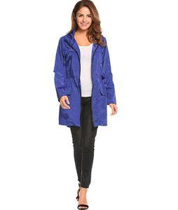 Taille Trench Coats Fashion Solid mit Reißverschluss und Taschen-Jacken Designer Frau Tuchdrawstring Kapuze Elastic