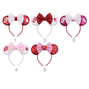 Style nouveau grand arc paillettes décorations Saint Valentin bandeau cheveux accessoires pour adultes enfants souris cerceau modélisation de l'oreille Piques à cheveux