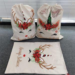 2020 Christmas Santa Sacks Cute Large Drawstring Bags Unicorn Canvas 2 Styles Santa Claus Bag 50cm*70cm 08