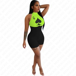2020 Women Sleeveless Jumpsuit Tracksuit Outfit Designer Shorts Rompers Cartoon Catsuit One Piece Shorts Sportswear Maternity Onesies D7103