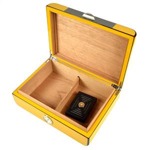Желтый Cedar Wood Сигара Хьюмидор с сигарным гигрометром и увлажнителем, который может держать 20 -30 сигар