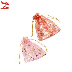 Moda rosa roja rosa Organza regalo de boda de la joyería 10 unids / lote Draw String Candy fiesta de cumpleaños fiesta de año nuevo regalo de vacaciones