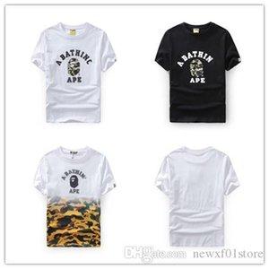 2019 de la moda para hombre de la mejor calidad 19BAPE Un baño nuevo 19 APE camuflaje cabeza Gradiente de los hombres blancos de la camiseta del manga corta de cuello redondo T-Sh