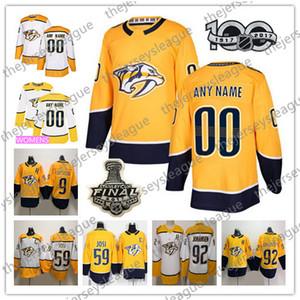 Nashville Predators NOVA MARCA personalizados Qualquer Número Nome Homens Mulheres Juventude azul Terceiro 11 Boyle Josi Branco Amarelo Blog remendo Hockey Jersey