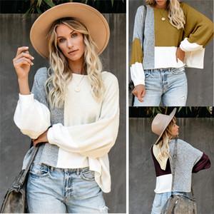 New Autumn Panelled Womens Hoodies Crew Neck Lantern Sleeve Pullover Spring Womens Designer Sweatshirts Loose Casual Hoodies