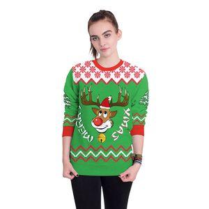 Nuovo arrivo elegante unisex di Natale sweatershirt ponticello pullover Tops Breve Warm Coat Winter Stampa Donne Maglioni Abbigliamento