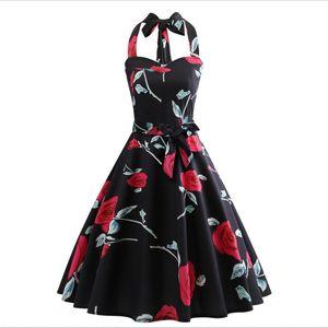 Новый европейский код летняя женская дизайнер взрыва ретро жилет юбка женский смысл висит шею обернутый нагрудный ремень талии печатных платье прыжки