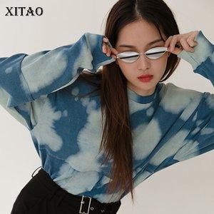 XITAO Весна 2020 новый галстук-краситель тонкий O шеи толстовка мода корейский стиль свободные дикие женщины топы тренд Женская одежда XJ4133