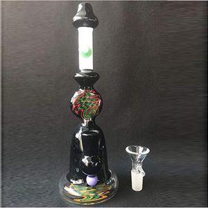 Bong Gear Pattern Beaker Bongs Black Art Glass Hookahs Water Pipes Oil Rig Joint Headshop Glass Water Pipes