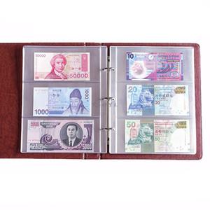 Páginas PVC 3 bolsos Dinheiro Bill nota da moeda Titular Coleção PVC pastas 180x80mm