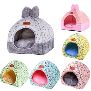 Pequeno Pet Dog House Tent Kennel All Seasons Bed Dogs cama macia Sujeira-resistente com arco lavável Almofada New
