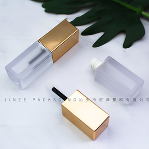 6ml Gold Color Empty Frosted Lip Gloss Tube Lips Balm Bottle Brush Container Beauty Tool Mini Refillable Bottles Lipgloss Tubes