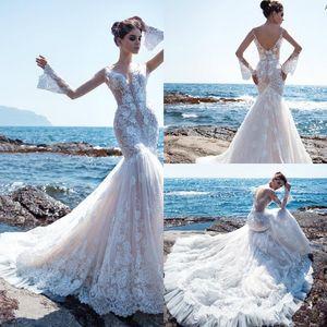 2020 Beach Mermaid Wedding Dresses Lace Appliqued V Neck Long Sleeve Wedding Dress Sweep Train Boho Vestido De Novia Bridal Gowns