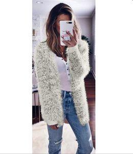 Diseñador de mujeres de piel sintética abrigo Donna color sólido cálido abrigo de felpa moda otoño y el invierno Tops