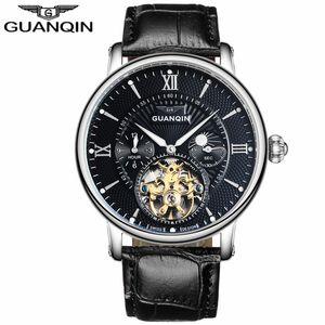 relogio masculino GUANQIN Mens orologi di lusso in pelle di marca di Tourbillon Vigilanza automatica di scheletro di sport degli uomini orologio meccanico