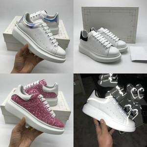 20SS luxe Plate-forme Designer Shoe Triple Reflective en velours noir blanc surdimensionné Hommes Femmes Casual Party Sneaker Full Dress Calfskin cuir