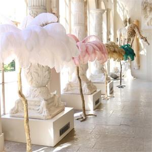 Ostrich Feather Floor Lamp estrada casamento levou pé quarto decorações ouro cobre decorações luz da sala frete grátis festa pano de fundo