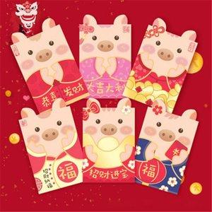 Los sobres rojos 6pcs Festival de Primavera de China El año del bolsillo divertida del cerdo