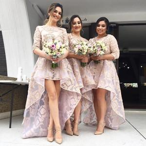 Новая мода Платья подружки невесты Привет-ло Драгоценная шея Половина рукава Подружка невесты платье девушки для свадеб Кружева аппликация вечернее платье
