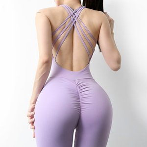 Workout Jumpsuits One Piece Long Sport Yoga Set V Cut Back Gym Tank Top Women Bra Padded Fitness Activewear