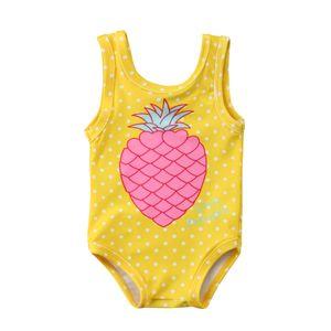 2019 Trendy Toddler Baby Girls 옷 라운드 넥면 파인애플 프린트 탑 민소매 아이 신생아 귀여운 바디 수트 원피스 수영복