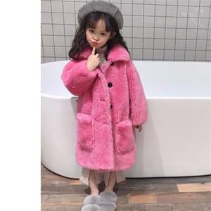 Inverno ragazza teenager Faux Fur caldo Outerwear Bambini Sheep montone cappotto del cardigan ragazza dei capretti Spesso casual giacca lunga Clothes S04