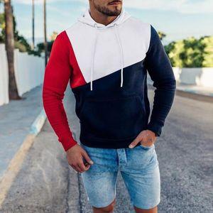 Mens camisola Hoodies 2019 Streetwear dos retalhos com capuz pulôver preto Hoodie White Men Inverno velo capuz Roupa D30