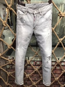 New Hot Sold Mens Designer Slim-leg DD-jeans Vintage Patches Straight Biker Patches Holes Hip Hop Denim Pants High quality IT Size 44-54