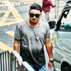GXXH Summer Big Size Men T-shirt Gradient Color Male Tee Homme Short Sleeve Loose But Show Slim Fit Men's T Shirt oversized 7XL