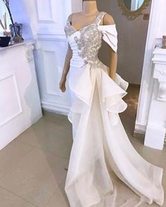 omuz Mermaid Akşam Elbise Pantolon Suit Kapalı Kristal Ayrılabilir Yan Peplum Tail ile 2020 Zarif Beyaz Gelinlik Modelleri Jumpsuit