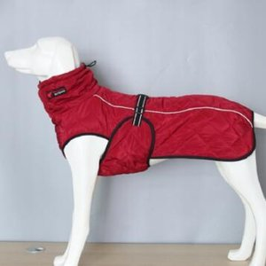 Dog Outdoor Jacket Reflective Dog Clothes Vest Winter Warm Cotton Dogs Clothing for Large Middle Dogs Labrador red black