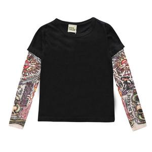 2019 Fashion Tattoo T-Shirts Kinder Langarm-T-Jungen-Mädchen-Baumwolle übersteigt einteilige Patchwork T-Shirts für Kinder 1-7Years