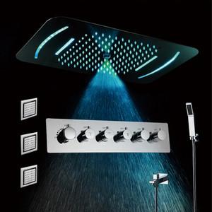 미스트 강우 샤워 헤드 LED (5 개) 기능 라이트 샤워기 온도 조절 샤워 수전 믹서 포함 된 천장 마운트 샤워 세트