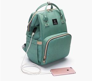 Diaper Bag Baby diaper bag backpack With USB Interface Large Capacity Waterproof Nappy Bag Kits Mummy Maternity Travel Backpack Handbag