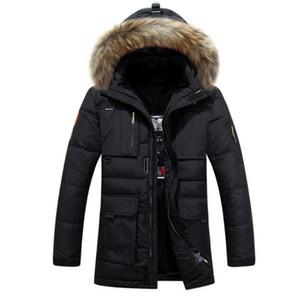 Roupas masculinas de alta qualidade Casual Brasão Jackets espessamento Parkas Masculino Big New Inverno Down Jacket Jacket Raccoon Fur capa da pele