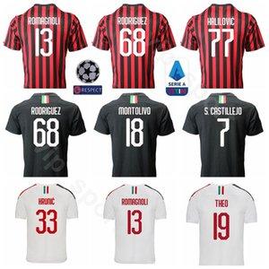 Fútbol 19 THEO Jersey 2019 2020 Hombres 13 ROMAGNOLI 68 RODRIGUEZ 22 MUSACCHIO 69 Andre Silva 7 CASTILLEJO 9 PIATEK Kits de camisetas de fútbol