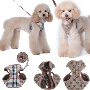 Outdoor Pet Dog Harnesses Classic Pattern Fashion Adjustable Pet Harnesses Leashes Cute Teddy Leash Collar Suit Small Dog Collar Accessories