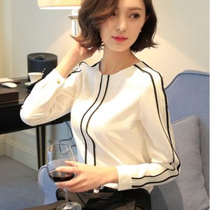 Women's dress stitching striped straight tube slim Shirt pullover pullover white shirt