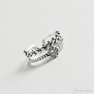 Hot Uphot 2018 Hot Sale Korean Style S925 Silver Retro Leaf Leaves With Zircon Double Layer Ring Free Shipping