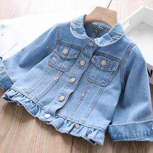 Fashion children denim jacket 2020 fall new girls cherry embroidered cowboy outwear kids lapel single-breasted denim jackets A3265